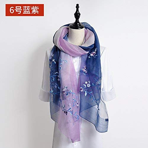 FLYRCX Women's natural silk scarf floral Satin Embroidery Scarf multi-purpose luxury gift 190cmx80cm Ms.