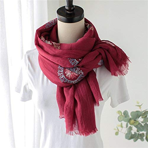 FLYRCX Multipurpose embroidered shawl women's soft and comfortable scarf 180cmx70cm