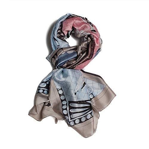 FLYRCX Ladies soft silk scarf satin scarf fashion printed shawl 180cmx90cm