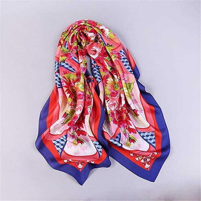 FLYRCX silk scarf lady silky Satin print scarf 108cmx108cm